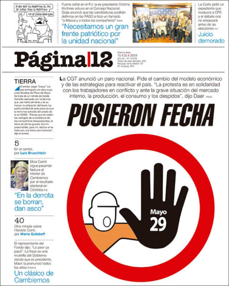 Las tapas del miércoles 15: Argentina «emergente», el paro de la CGT y Cristina peronista