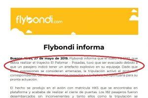 Un bolu…con vista al mar: Habló de «bomba» a bordo de un vuelo de Flybondi que venía a Posadas y provocó la cancelación