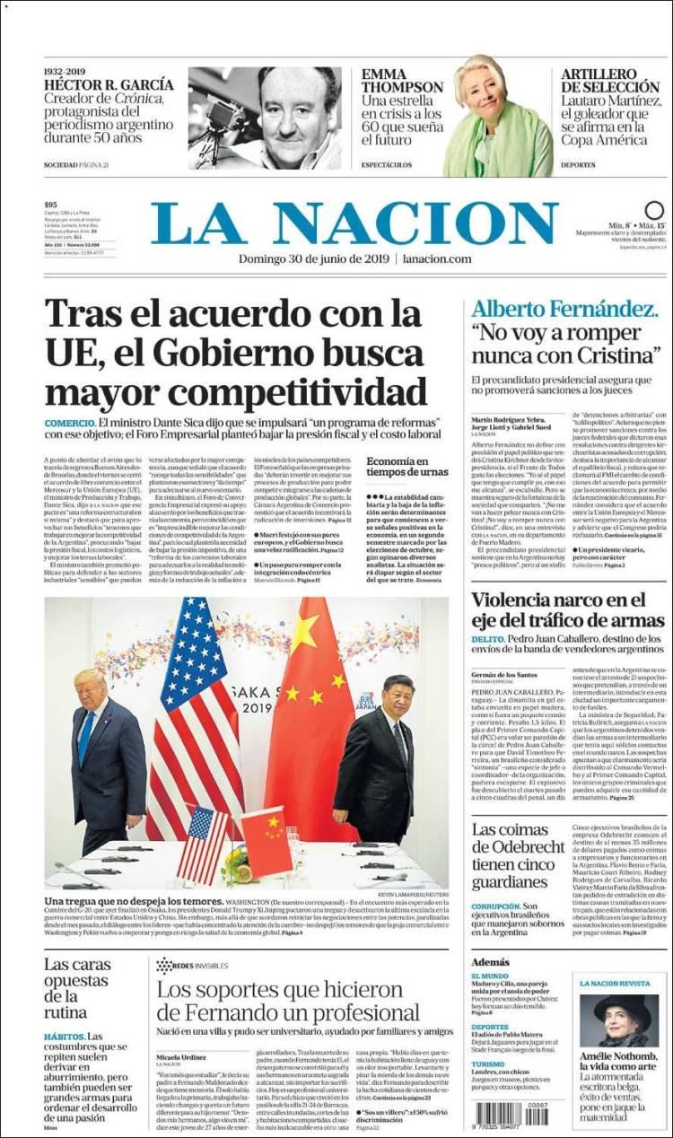 Las tapas del domingo 30:  repercusiones del pacto Mercosur-UE y la muerte de Héctor Ricardo García