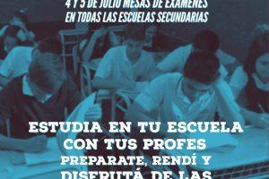 Las mesas de exámenes se harán el 4 y 5 de julio