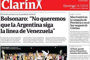 Las tapas del domingo 14 de julio: Bolsonaro se mete en la campaña argentina y apoya a Macri
