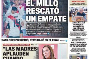 Las tapas del domingo 28 de julio: Empate de River con Argentinos y CFK comparó a la Argentina con Venezuela