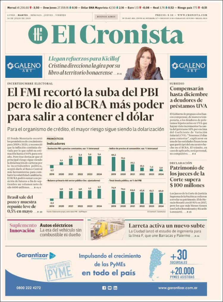 Las tapas de los diarios del martes 16 de julio: El FMI recortó el pronóstico de crecimiento y un salvataje a los deudores UVA