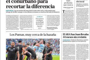 Las tapas del domingo 21: El reflejo de una campaña sin candidatos que enamoren y Los Pumas, que casi lo consiguen