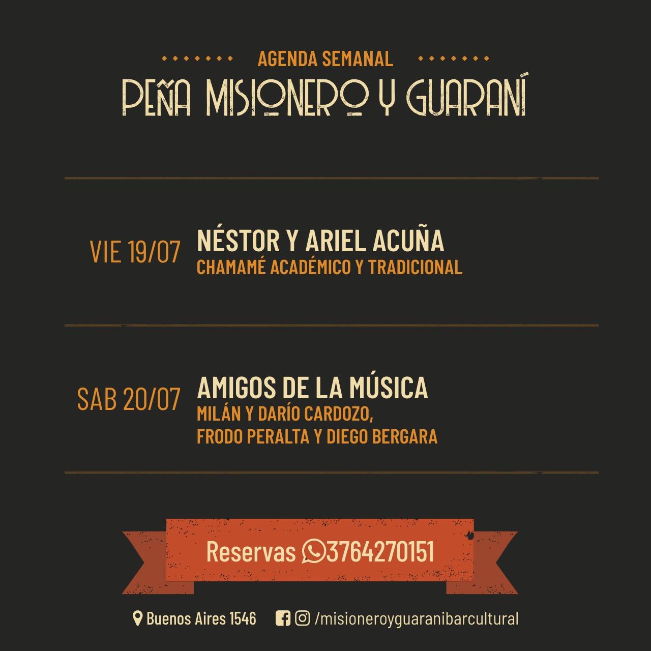 El Día del Amigo, se festeja con música en la peña Misionero y Guaraní