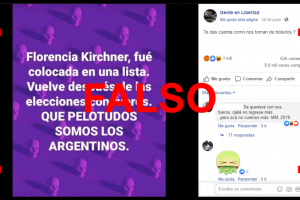 Es falso que Florencia Kirchner es candidata