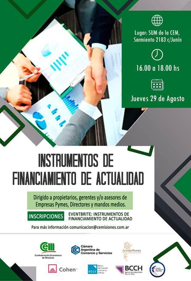 En la CEM capacitarán sobre «Instrumentos de Financiamiento de Actualidad»
