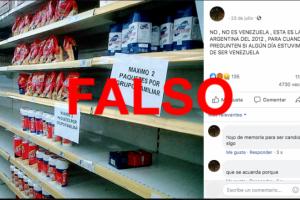No, las góndolas vacías de yerba, no muestran que la situación del país era equiparable a la de Venezuela