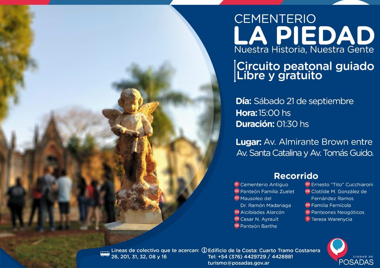 """Invitan a participar el próximo sábado de un nuevo paseo peatonal guiado por el Cementerio """"La Piedad"""""""