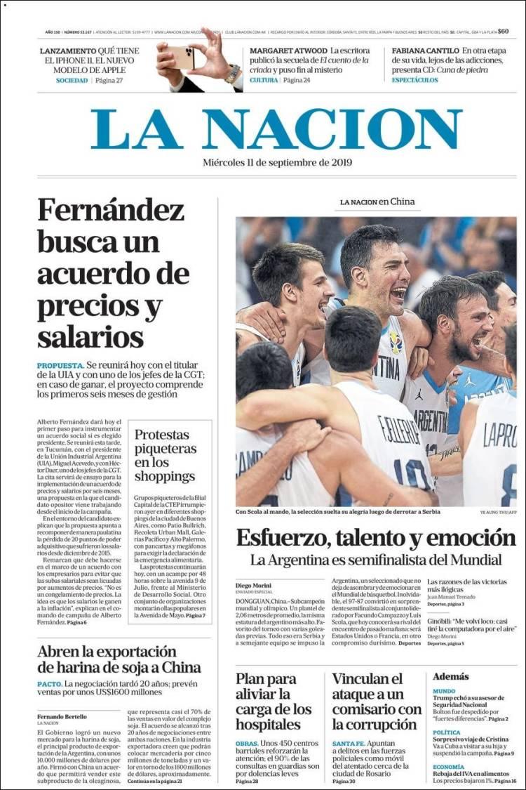 Las tapas del miércoles 11: Triunfazo del básquet y reunión en Tucumán encabezada por Alberto Fernández