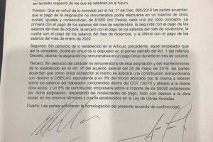 Bono: La Cámara Argentina de Comercio acordó el pago en hasta 5 cuotas