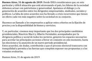Empresarios de IDEA pasaron del silencio cómplice a pedir «diálogo» entre Macri y Fernández y «patriotismo» a la hora de poner precios