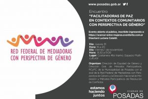 Posadas: realizarán un taller sobre mediación comunitaria con perspectiva de género