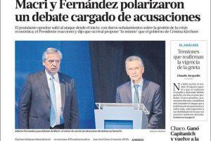 Las tapas del lunes 14: ¿A quién vio ganador cada diario en el debate?