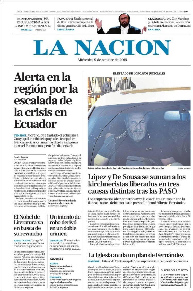 Las tapas del miércoles 9: La crisis en Ecuador y la salida de Cristóbal López de la cárcel