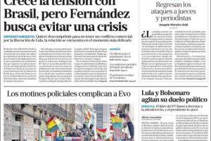 Las tapas del domingo 10: Tensión Alberto-Bolsonaro por Lula y Bolivia en crisis