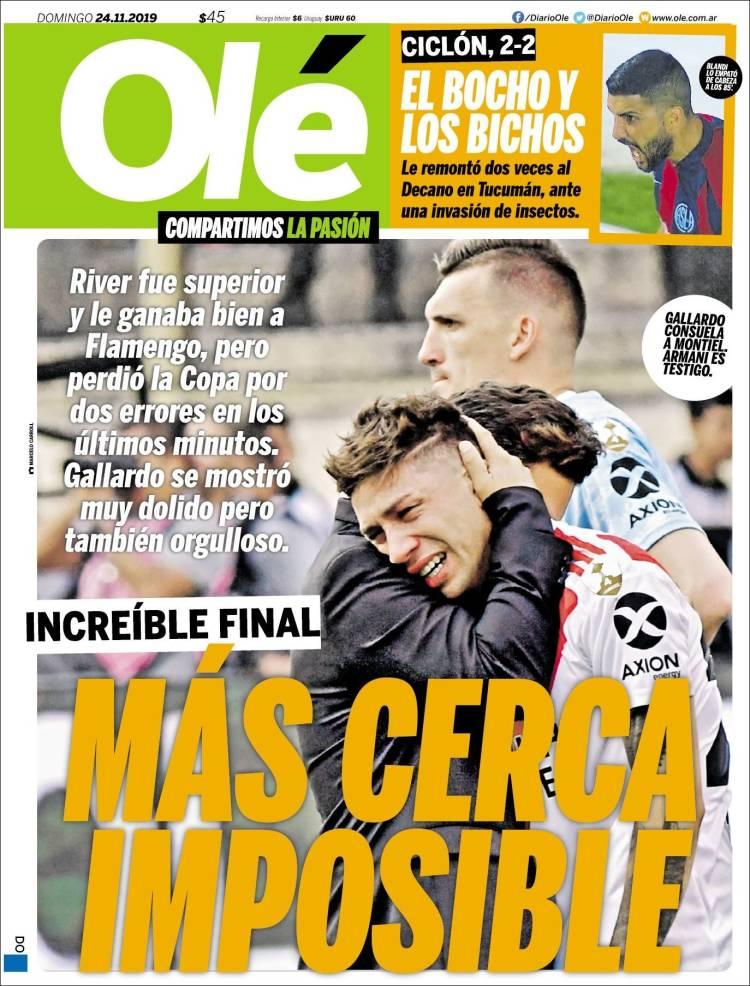 Las tapas del domingo 24: Cómo reflejaron los diarios la increíble derrota de River a último momento