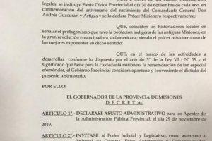 Conmemoración del natalicio de Andresito: Passalacqua decretó asueto administrativo para el viernes