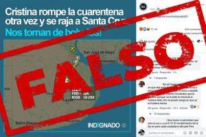 Es falso que Cristina Fernández de Kirchner rompió la cuarentena y se fue a Santa Cruz