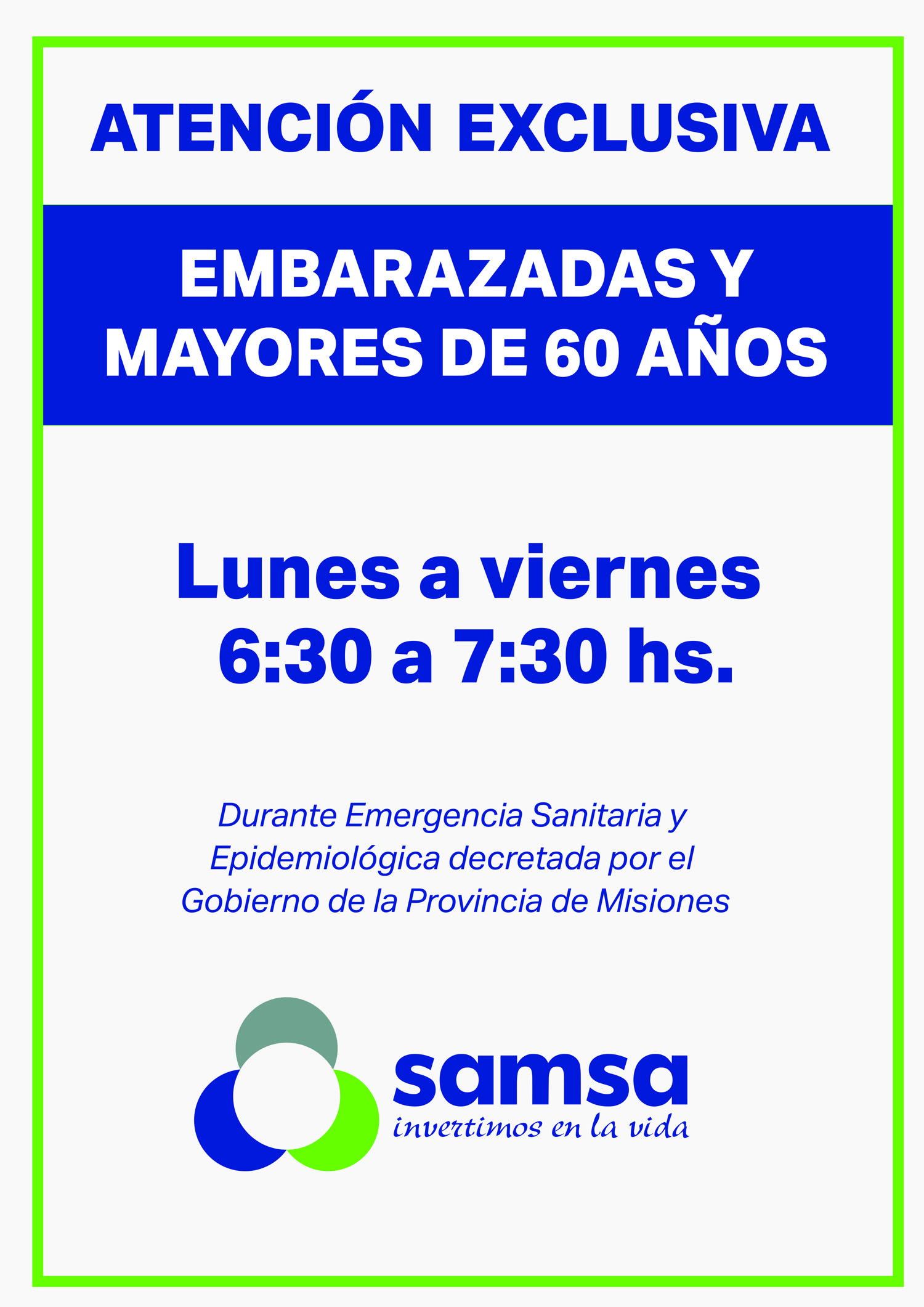 Samsa: atención exclusiva para mayores de 60 años y embarazadas por emergencia sanitaria